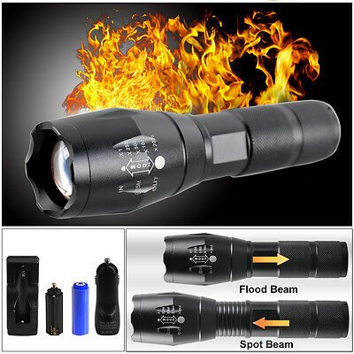 CREE XM-L T6 LED Zoomable 5000Lm 18650 AAA Rechargeable Battery Flashlight Torch