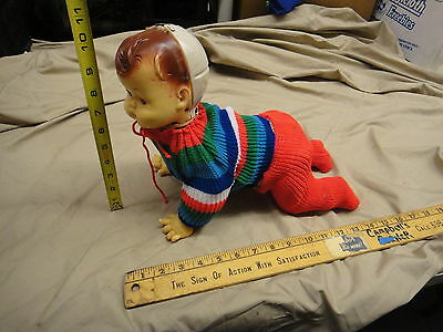 Vintage Tin crawling battery operated baby boy, as is unworking?