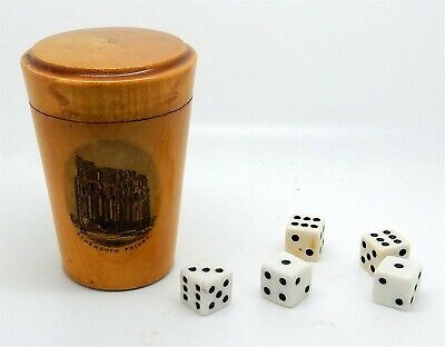 Antique / Vintage Scottish Mauchline Covered Covered Cup Holder / Dice Cup Dice
