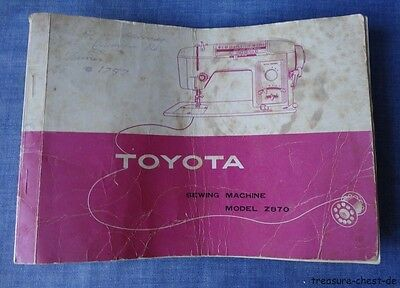 Rare Original Instructions Manual for Vintage Toyota Z870 Sewing Machine