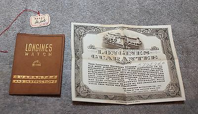 Vintage Longines Watch Leather Guarantee And Instructions W/orig Tag