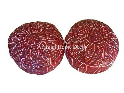 Set of 2 Handcrafted Egyptian Moroccan Ottoman Leather Pouf Pouffe Footstool