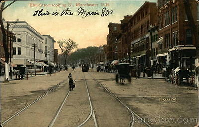 1909 Manchester NH Elm Street Looking N. Hillsborough County New Hampshire PC