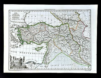 1812 Malte Brun Lapie Map Asia Minor Turkey Syria Iraq Persia Iran Middle East