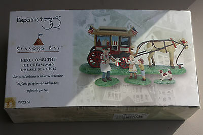 Dept 56 Seasons Bay Here Comes The Ice Cream Man Set Of 4 With Box