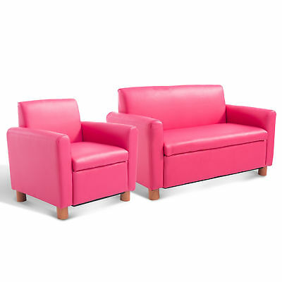 Kids Sofa Single PU Leather Armchair Pink Toddler Couch Lazybones Relax Quality