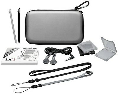 Grey Nintendo 3DS XL Accessory Pack / Kit  Case, Stylus, Earphones
