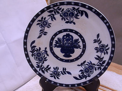 Hollinshead And Kirkham [H & K] Dark Blue And White Side Plate  Floral  Pattern
