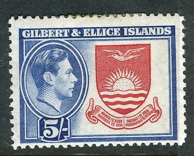 GILBERT ELLICE ISLANDS;  1938 early GVI issue Mint hinged 5s. value
