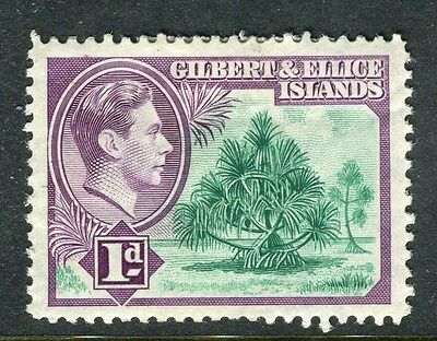 GILBERT ELLICE ISLANDS;  1938 early GVI issue Mint hinged 1d. value