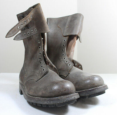 ORIGINAL FRENCH ARMY COMBAT BOOTS - Genuine Military Brown Leather Buckle A12