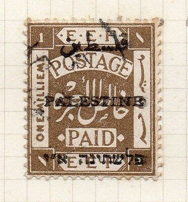 Palestine 1921 Early Issue Fine Used 1m. Optd 076014