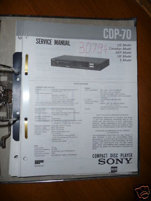 sony service manual~cdp ca70es cd compact disc player~original service manual for sony cdp 70 cd player original