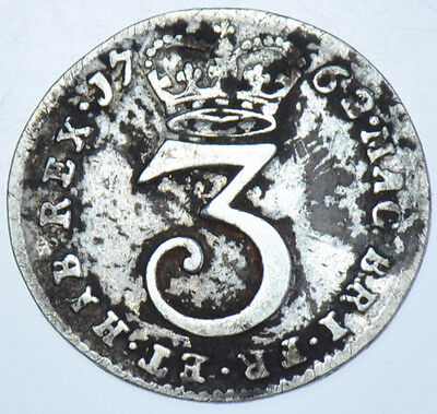 1762 Maundy Threepence British Silver Coin From George Iii F/vf