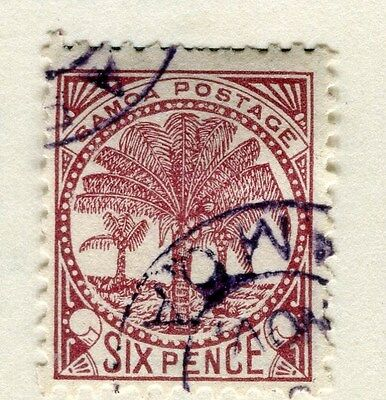 SAMOA;  1890s early classic Palm Tree issue fine used 6d. value