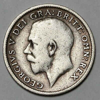 1915 King George V Great Britain Silver Sixpence Six Pence 6D Coin