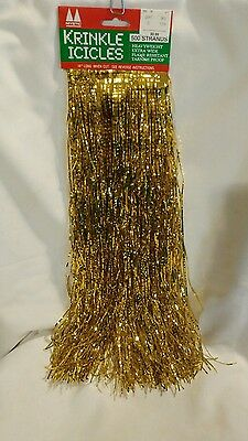 Mystic Krinkle Icicles Old Fashioned Christmas Tinsel - Gold - 500 Strands -18""