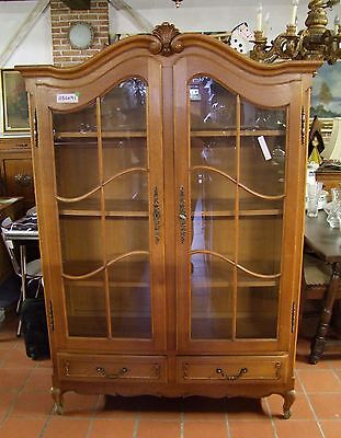 Louis Xv Style French Carved Oak Vitrine - Glazed Display Cabinet (020091)