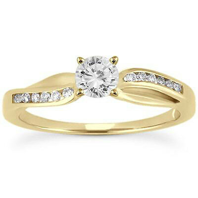 1/2 Carat Round Cut D/VVS1 Diamond Engagement Ring In 10k Solid Yellow Gold