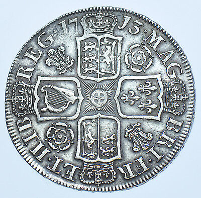 1713 ROSES & PLUMES HALFCROWN BRITISH SILVER COIN FROM ANNE aEF