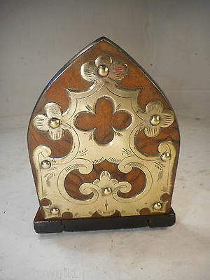 Antique Burr Walnut Book Ends , Book Slide , Stand , Rest , Shelf ref2345