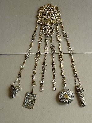 ANTIQUE VICTORIAN PLATED BRASS CHATELAINE PIN CUSHION THIMBLE AIDE MEMOIRE etc