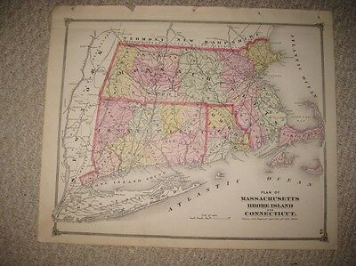 Fine Antique 1874 Massachusetts Rhode Island Connecticut Handcolored Map Superb