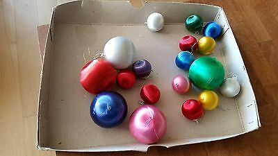 Vintage Mixed Lot 18 Christmas Tree Baubles / Decorations Thread / Satin Covered
