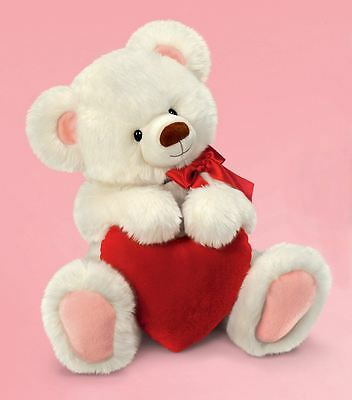"""Smitten 6"""" White Teddy Bear with Red Love Heart Valentines Day Gift"""