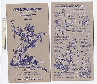 #6 Lot of 6 Diff 1949 NABISCO INJUN-UITY Cards Book #1 Cereal Straight Arrow Old
