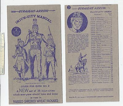 #18 Lot of 6 Diff 1950 NABISCO INJUN-UITY Cards Book #2 Cereal Straight Arrow
