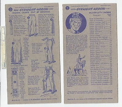 #23 Lot of 6 Diff 1950 NABISCO INJUN-UITY Cards Book #2 Cereal Straight Arrow