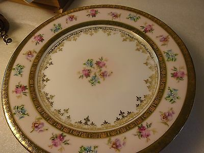 8 & 1/2 Inch Plate Austria With Raised Flowers & Gold Trim