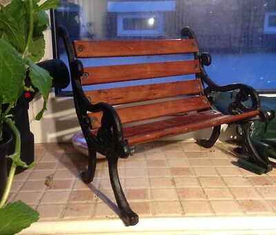 Small Decorative Garden Bench Chair Wood & Cast Iron - Teddy Bear Or Doll Etc