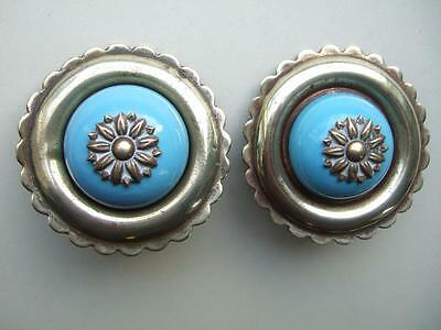 Pair Vintage Horse Brass/driving Bridle Rosettes, Pale Blue Ceramic Centres