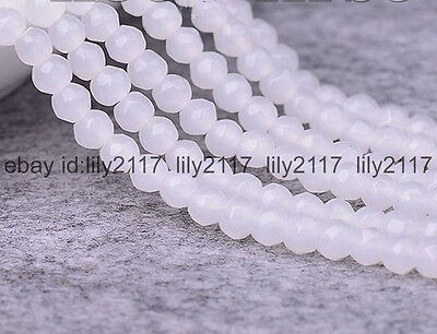 """AA Natural 4mm Faceted White Jade Round Gemstone Loose Beads 15"""" Strand"""