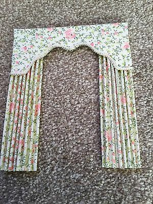 Dolls house miniature Floral Curtains 13.5cm X16.5cm