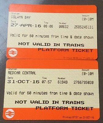 PLATFORM TICKETS - 2 Current Styles From COLWYN BAY 31 & REDCAR CENTRAL 30