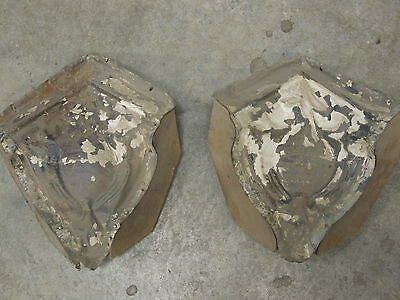 "Old Antique ( Metal ) tin ceiling tiles (2)  corners 9"" with wood"