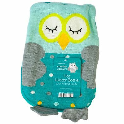 Large Knitted Owl  Hot Water Bottle With Soft Cuddly Novelty Cover Winter Gift