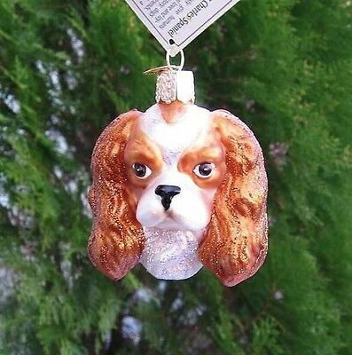 Old World Christmas CAVALIER KING CHARLES HEAD Blown Glass Tree Ornament