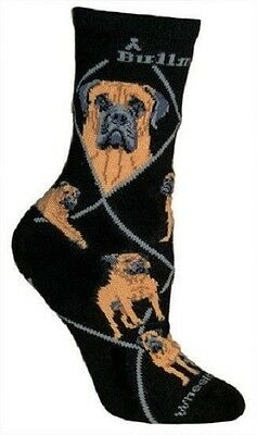 Adult Size Medium BULL MASTIFF Adult Socks/Black Made in USA