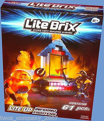 Lite Brix Inferno Fighters Light Up Building Construction Set 61 Pieces New