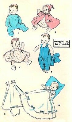 """Vintage 15-17"""" Baby Doll Clothes Pattern 8800"""