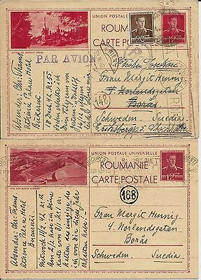 Two illustrated 1942 Romanian postal cards to Sweden via Germany, one censored