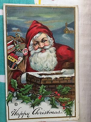 Antique Christmas Postcard; Bright Colorful Santa On Roof W/ Bag Of Toys