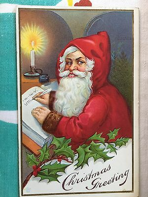 Antique Christmas Postcard; Santa Keeping A List; Bright & Colorful