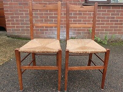 Pair 2 Victorian antique Arts & Crafts solid golden oak rush seat kitchen chairs