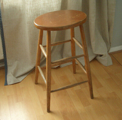 Tall Vintage Wooden Stool c.1960s • £24.99