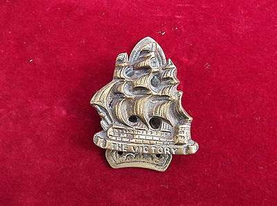 Antique Brass Victory Galleon Door Knocker / Old Brass Ship Door Knocker
